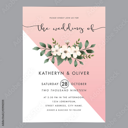 Modern Wedding Invitation Cards Template Vector 8