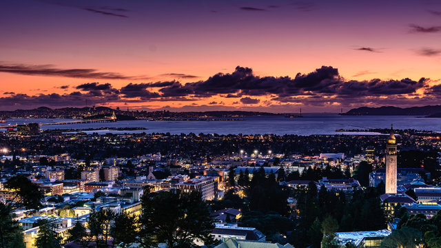 San Francisco Bay area and city of Berkeley on a spring evening
