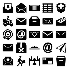 Set of 25 mail filled icons