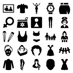Set of 25 woman filled icons