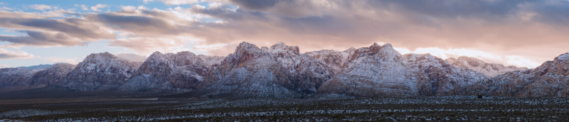 Panorama snow on Red Rock Canyon National Park Sunset
