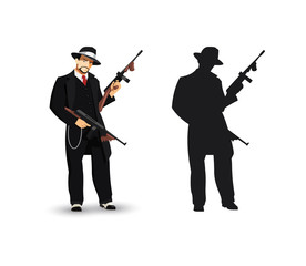 Mafia Gangster isolated ilustration