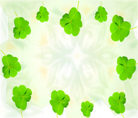 Saint Patrick green clovers card background