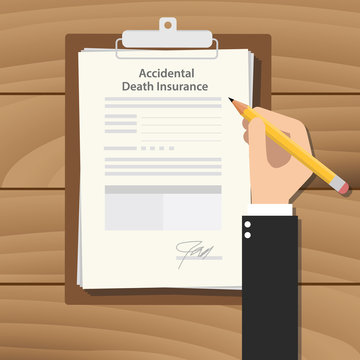 accidental death insurance illustration with business man signing a paper work on clipboard on wooden table