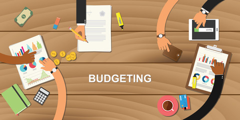 Obraz budgeting business concept illustration with team work together to on top of wooden table with hand and use tools like money, calculator, paper work, graph and chart - fototapety do salonu
