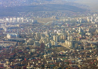 Aerial view of Iasi city seen from airplane, Romania