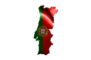 Portugal National Flag With Map Of Portugal Isolated On White Background 3D illustration