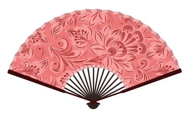 Ancient Traditional Japanese fan with Japanese Flower Painting