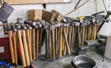 Lot of car mechanics hammers