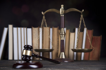 Book, Mallet, Law, legal code of justice concept
