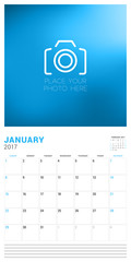Wall Calendar Planner Template for January 2017. Week Starts Sunday. Place for Photo. Stationery Design. Vector Illustration