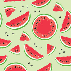 Slice of watermelon / Seamless vector pattern with watermelon slices on light green background