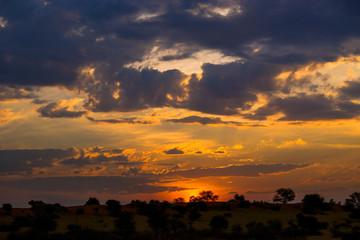 Colorful african sunset in Kalahari desert, Namibia.