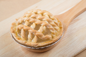 Sugar palm nut pie on the wooden background - Soft focus