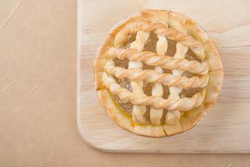 Sugar palm nut pie on the wooden background - Soft focus