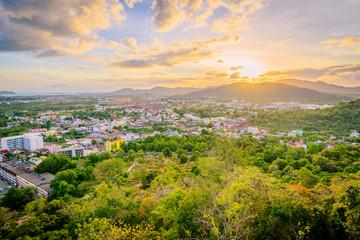 Khao Rang Viewpoint of Phuket city in sunset, Phuket province, Thailand