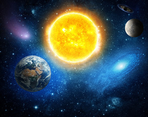 Wall Mural - Solar system and space objects. Elements of this image furnished by NASA.