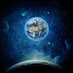 Wall Mural - Views of Earth from the moon surface. Elements of this image furnished by NASA.