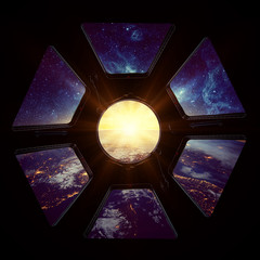 Wall Mural - Earth and galaxy in spaceship window porthole. Elements of this image furnished by NASA.