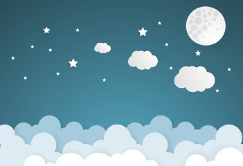 moon and stars with cloud in nighttime .paper art style