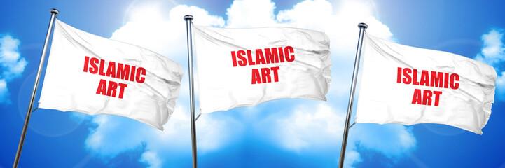 islamic art, 3D rendering, triple flags