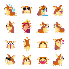 Funny Corgi Dog Cartoon Icons Set