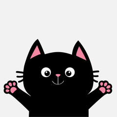 Black cat ready for a hugging. Open hand pink paw print. Kitty reaching for a hug. Funny Kawaii animal. Baby card. Cute cartoon character. Pet collection. Flat design White background. Isolated.