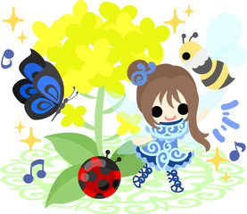 Pretty fairy and beautiful brassica and ladybug and butterfly and bee