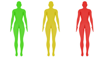 Different colored digital womans, isolated on white background, 3 d render