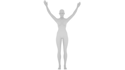 Grey digital woman with lifted hands, isolated on white background, 3 d render