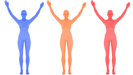Different colored digital womans with lifted hands, isolated on white background, 3 d render