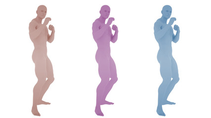 Different colored digital mans in boxing position, isolated on white background, 3 d render