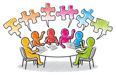 Farbige Strichmännchen: Meeting am runden Tisch mit Puzzleteil-Sprechblasen