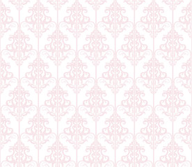 Damask seamless pattern background. Pastel pink and white. Vintage. For wedding design.