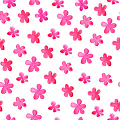 Cute simple flowers. Watercolor. Pink flowers on a white background. Seamless floral pattern for textile, gift packaging, Wallpaper, scrapbooking, and book covers. Floral ornament.