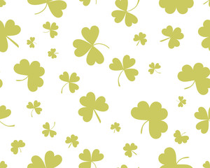 St Patrick's Day background with three leaves clover. Green on white color. The Symbol Of Ireland. The Irish pattern. Vector seamless backdrop