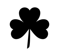 Silhouettes of three leaf clover in flat style. Vector icon
