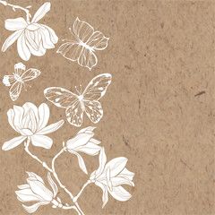 Floral background with magnolia flowers and butterflies on kraft paper. Invitation or greeting card.
