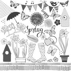Spring. Vector collection of isolated elements for design. Hand-drawn  illustration on a white background.