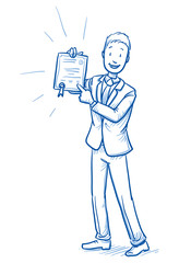Happy young man in business suit showing his certificate, diploma, award. Hand drawn line art cartoon vector illustration.