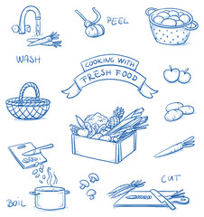Set of different icons for cooking fresh food. With washing, peeling, cutting, and boiling of vegetables. Hand drawn cartoon vector illustration.