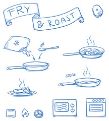 Set of different icons for frying and roasting food in a pan. With frying pan, steak, frozen vegetables, microwave, stove and complete dish. Hand drawn cartoon vector illustration.