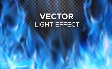 Burning fire flames on transparent background. Vector special light effect