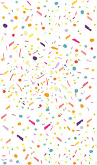 Colorful confetti vector background Vertical, rectangular. Pattern with small particles, grains like chocolate chips pastry Bright backdrop on white