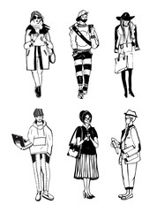 Set of stylish people with gadgets at street, sketch fashion collection. Vector illustration