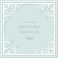 Wedding invitation card template with laser cutting frame. Square filigree cutout envelope design. Pastel blue and white colors.