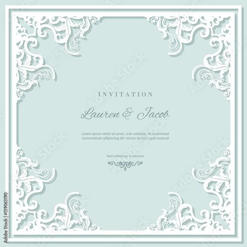 Wedding Invitation Card Template With Laser Cutting Frame Square - Wedding invitation envelope design templates