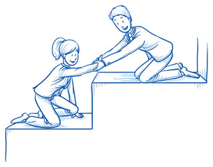 Happy business team, men and women, helping each other climbing stairs, concept of good teamwork. Hand drawn line art cartoon vector illustration.