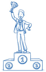 Happy business man, on winner's podium with medal and trophy, concept of leader, first, best of. Hand drawn line art cartoon vector illustration