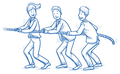 Happy business team, men and women,pulling a rope together, concept of good teamwork. Hand drawn line art cartoon vector illustration.
